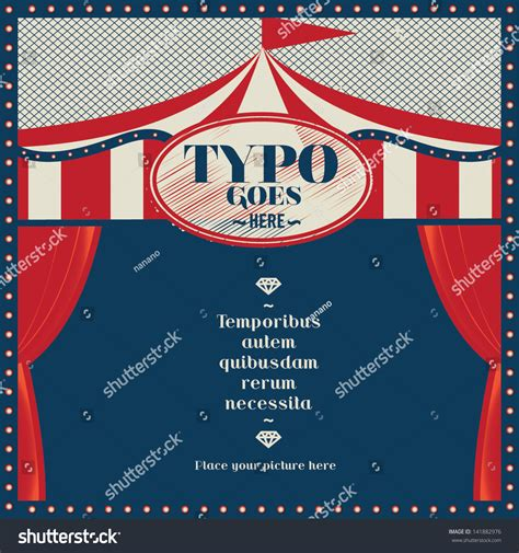 tent card vector template circus theme wedding invitation card greeting stock vector