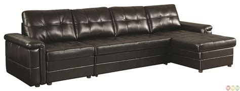 Pull Out Leather by Tarrson Transitional Sectional Sofa With Pull Out Bed
