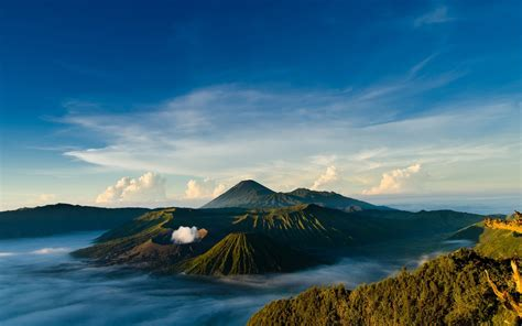 photography nature landscape sea water volcano