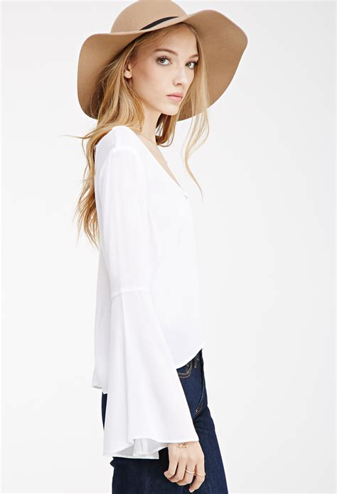 Blouse Cookies Bell lyst forever 21 buttoned bell sleeve blouse you ve been