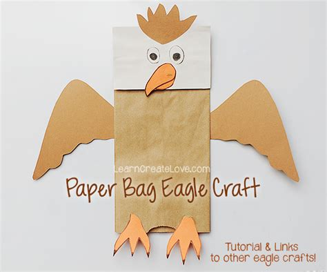 paper bag arts and crafts for paper bag craft eagle puppet