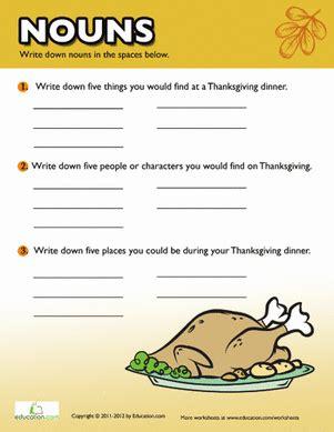 printable noun games for middle school thanksgiving nouns worksheet education com