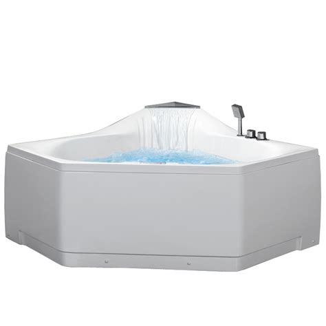 jetted corner bathtub shop ariel 2 person white acrylic corner whirlpool tub common 60 in x 59 in actual