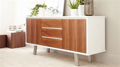 White Gloss and Walnut Sideboard   Danetti UK