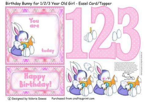 Three Year Birthday Card Birthday Bunny For 1 2 3 Year Old Girl Easel Card Topper