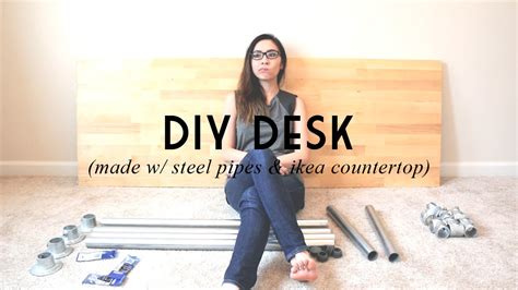 Butcher Build by Diy Desk Made W Steel Pipes Amp Ikea Countertop Catabot