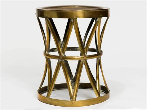 vintage brass drum stool table for sale at 1stdibs
