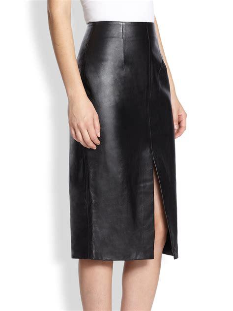 Slit Pencil Skirt lyst nicholas front slit leather pencil skirt in black