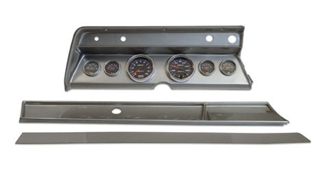 Ct 66 Dash Rockman Dash 1966 chevelle 6 panel brushed alum with auto meter
