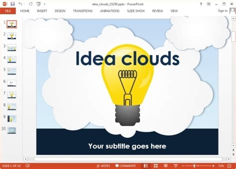 powerpoint template ideas animated idea clouds powerpoint template