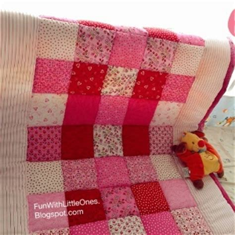 pink squares patchwork baby quilt allfreesewingcom