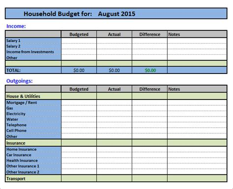 Detailed Budget Template 11 Household Budget Sles Sle Templates