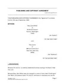 Copyright Contract Template by Free Publishing And Copyright Agreement Australia