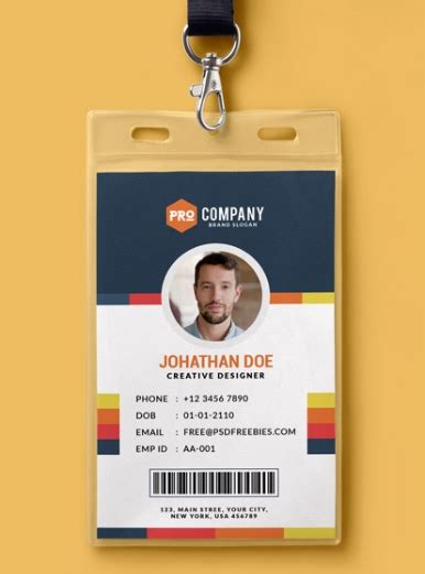 employee identification card template free employee id card design psd the letter sle