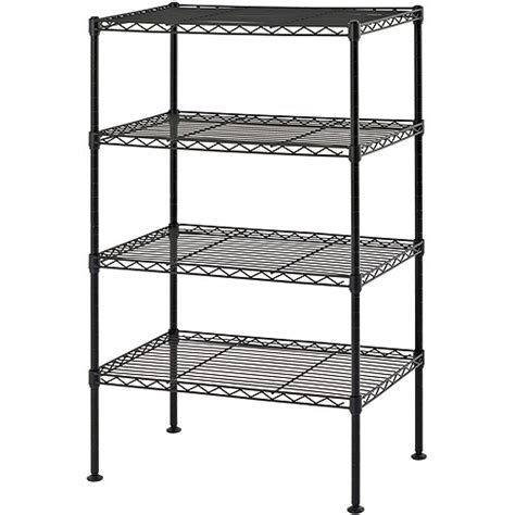 muscle rack four level wire shelving black storage stand