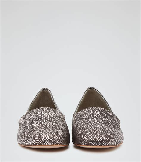 pewter flat shoes lillie pewter metallic flat shoes reiss