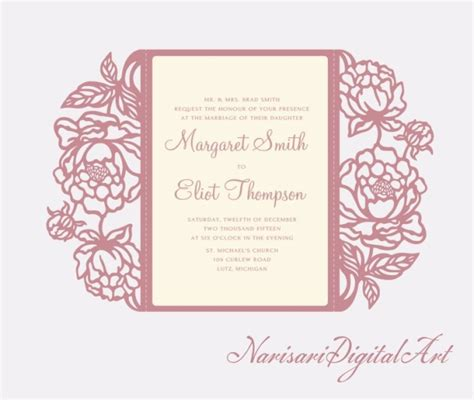 silhouette cameo flip it card template downloads peonies cricut silhouette cameo wedding invitation gate