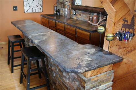 Tiki Bar Decorating Ideas Rustic Outdoor Concrete Countertop Kitchen