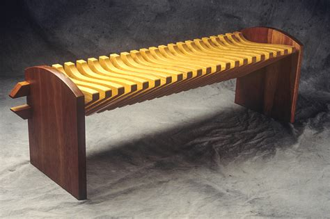 vertebra bench custom hardwood seating seth rolland