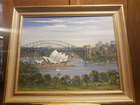 buy john hansen oil painting sydney harbour  tulip antiques art silvan