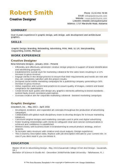creative designer resume sles qwikresume