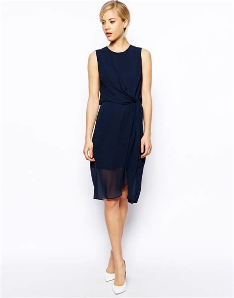 draped midi dress asos plain drape midi dress in blue navy lyst