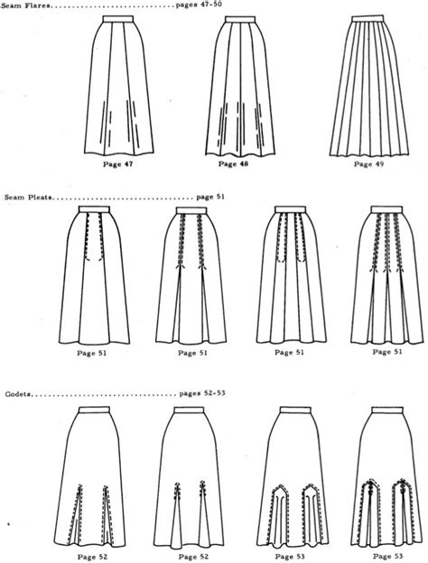 skirts with gores pleats and godets flat sketches