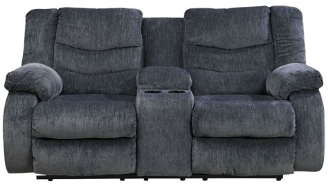 double recliner loveseat with console garek blue double reclining loveseat with console from