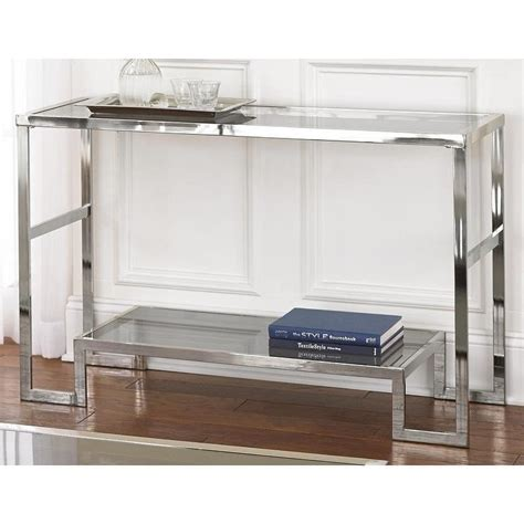 glass and chrome sofa table cordele chrome and glass sofa table overstock com