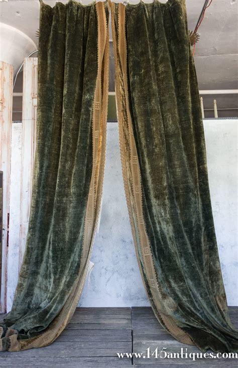 Antique Velvet Curtains Set Of Three Pairs Of Antique Green Velvet Drapes For Sale At 1stdibs