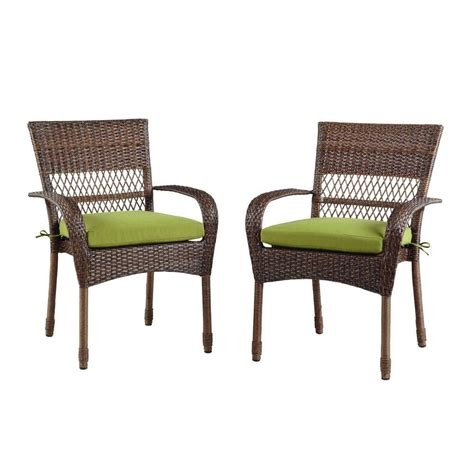Patio Dining Chairs With Cushions Martha Stewart Living Charlottetown Brown All Weather Wicker Patio Dining Chair With Green Bean