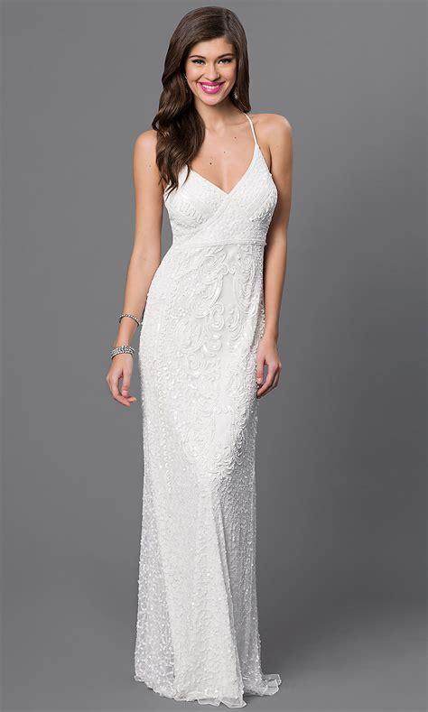 Spaghetti Dress White marina white sequin spaghetti dress promgirl