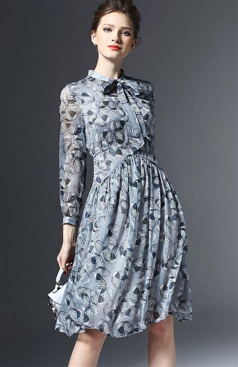 Leaf Dusty Blouse duchess fashion malaysia clothes shopping dusty pink blue leaf print chiffon flare dress