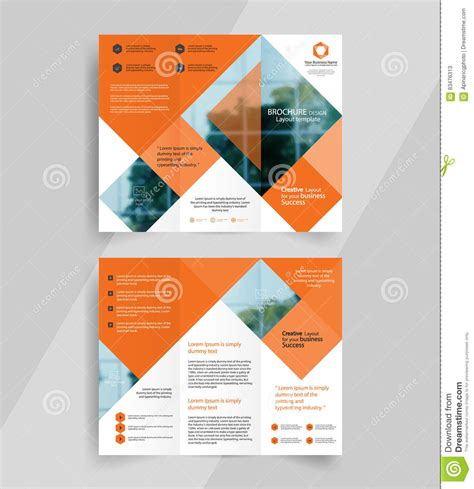 business tri fold brochure layout design emplate stock