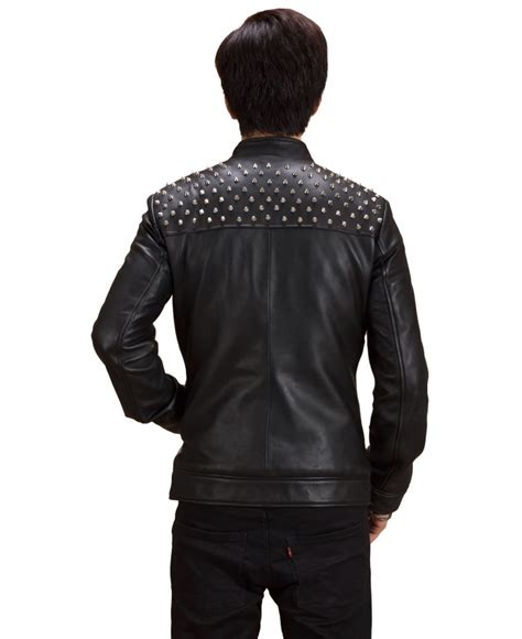 Jaket Black Silver black silver studded leather jacket jackets maker