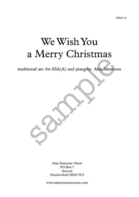 We Wish You A Merry Christmas Ssa A Uk Alan Simmons Music We Wish You A Merry Coloring Pages