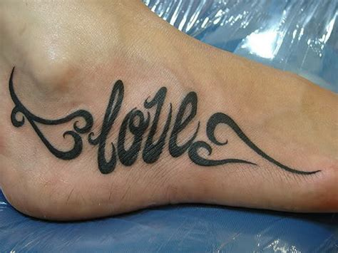 love tattoo on foot love words tattoo on foot