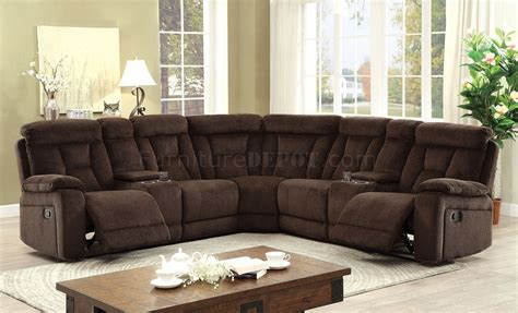 Chenille Sectional Sofa Maybell Motion Sectional Sofa Cm6773br In Brown Chenille Fabric