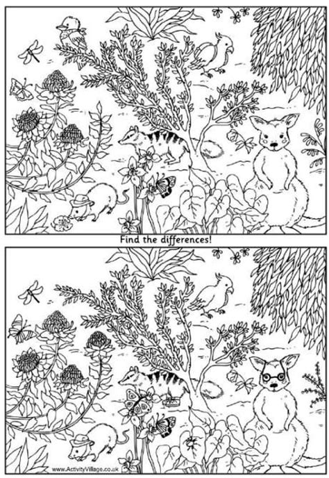 printable spot the difference games for adults australian animals find the difference puzzle activity