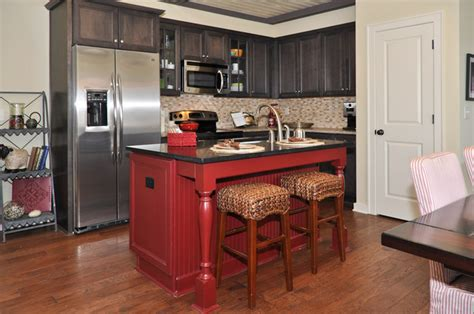 red kitchen island red island kitchen birmingham by signature homes