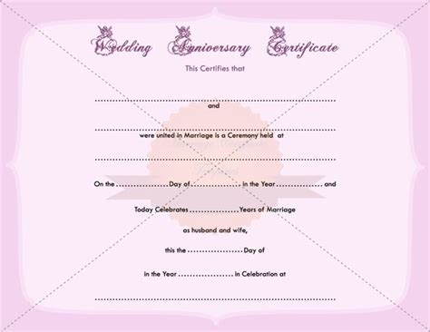 Wedding Anniversary Certificate Template by Wedding Anniversary Certificate Printable Template