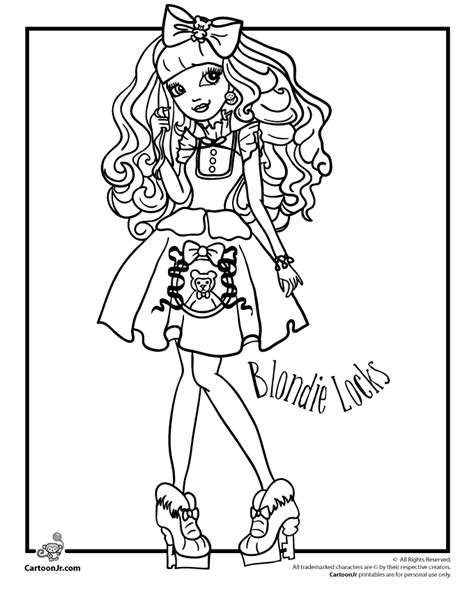 Ever After High Blondie Locks Woo Jr Kids Activities Coloring Pages Junior High