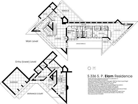 frank lloyd wright house plans frank lloyd wright waterfall house floor plans