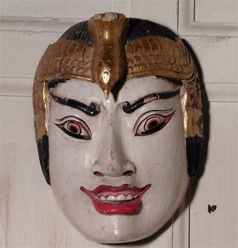 Masker Indo antiques atlas saraswati topeng carved wooden mask