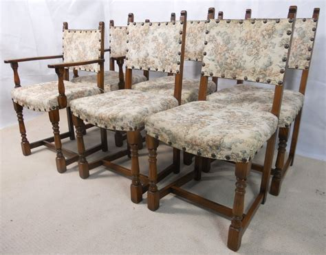 G Plan Armchairs Set Of Six Tudor Style Light Oak Upholstered Back Amp Seat