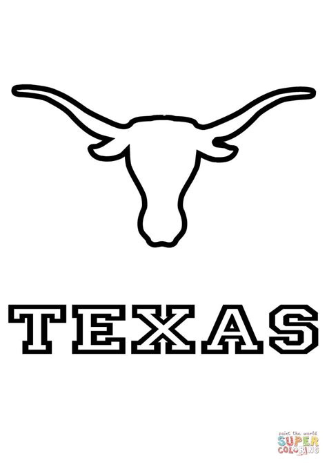 longhorns texas team coloring page free printable