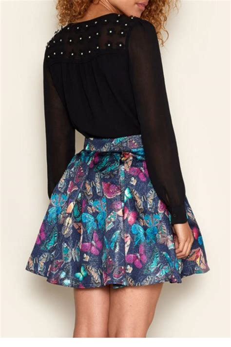 Butterfly Print Skirt Shoptiques
