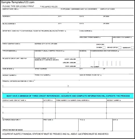 business loan application template credit application sle