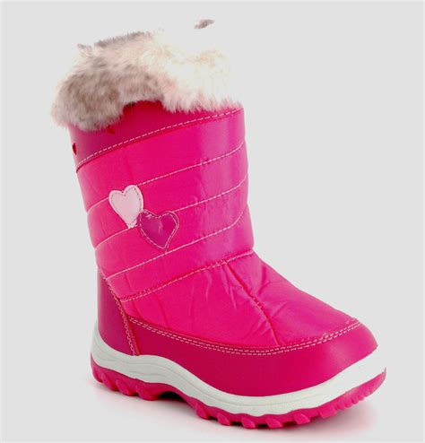 pink winter boots kid winter pink fur snow boots uk size 10 11 12 only