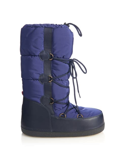 moncler boots moncler moon quilted ski boots in blue lyst